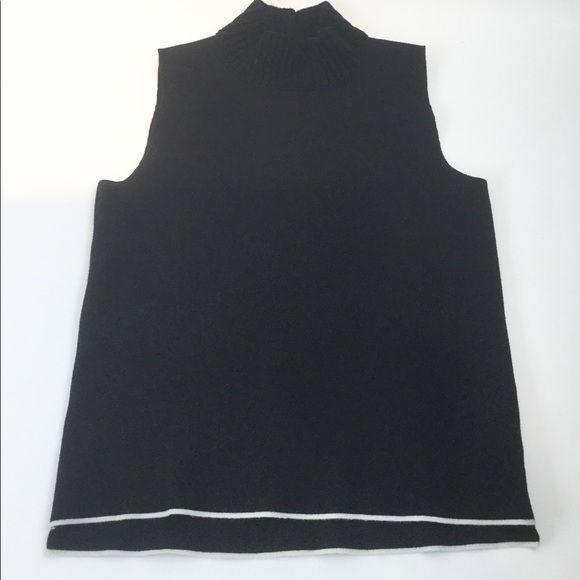 Zara Faux T-Neck knit black, hi- low Large